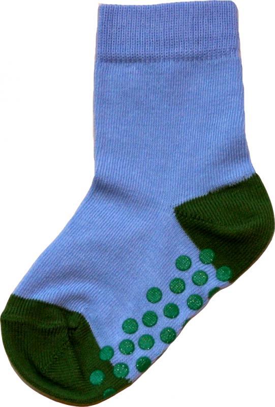 Socka Himmelsblå/olivgrön tå/häl
