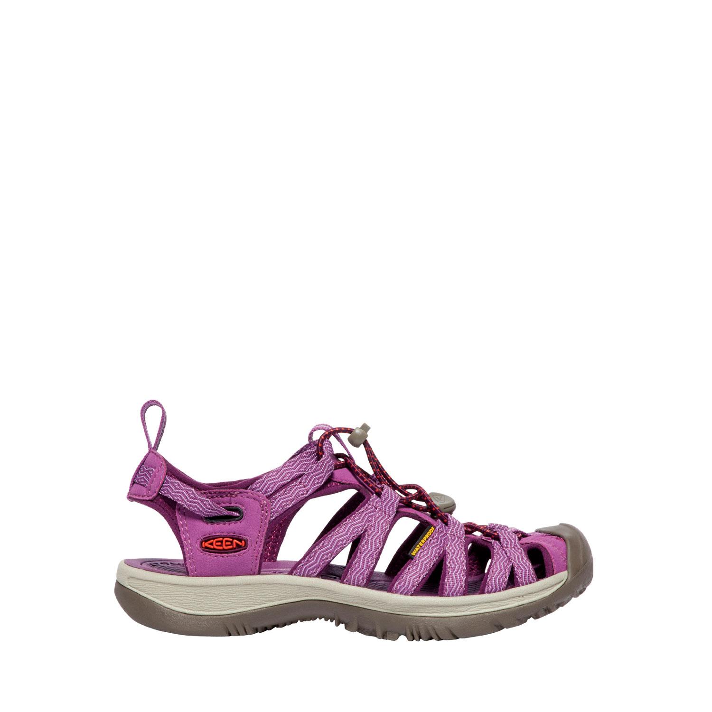 Lila sandal med tåskydd sedd från sidan