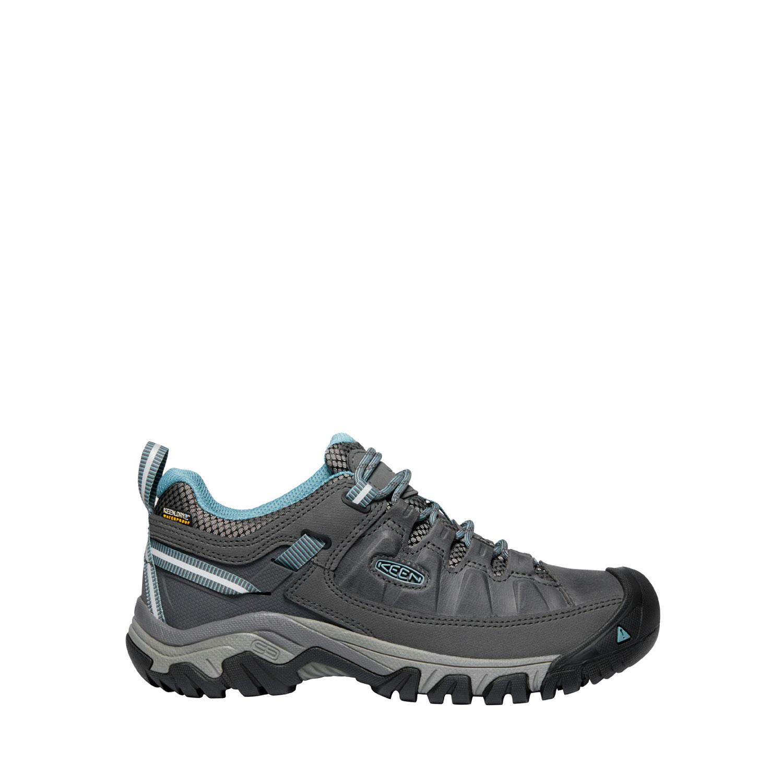 Den breda gråblå promenadskon Keen W Targhee III WP från sidan