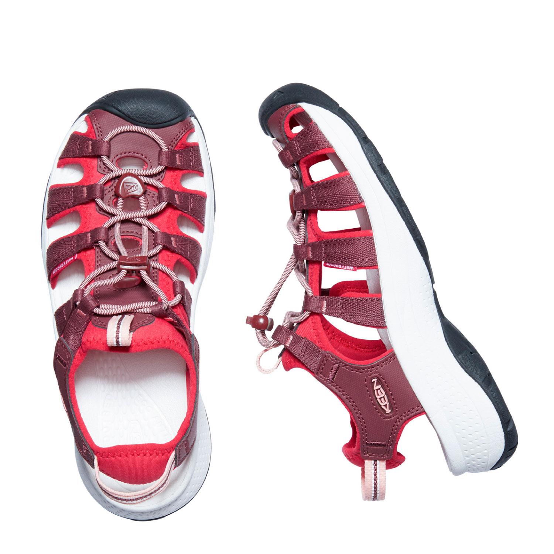 Sidorovy och vy ovanifrån på Sidovy på den breda och lätta sandalen Keen W Astoria West Sandal i roströd och röd
