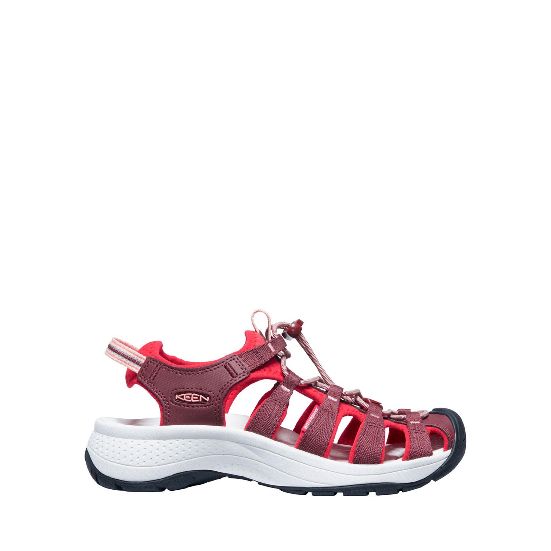 Sidovy på den breda och lätta sandalen Keen W Astoria West Sandal i roströd och röd