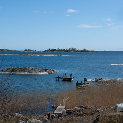Utsikt vårtider nära Nore på Runmarö