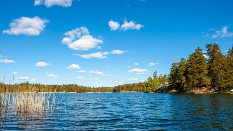 Sågsjön längs med Boo-leden är ett perfekt fikastopp