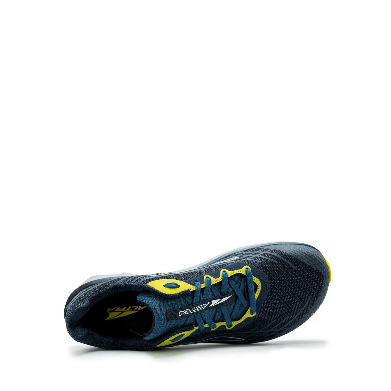 Den breda löparskon Altra Timp 2 sedd ovanifrån. Blå och gul.