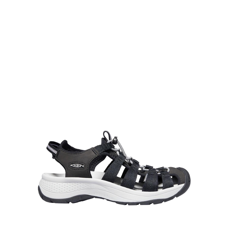 Den lätta, svart och vita sandalen Keen W Astoria West Sandal med bred läst sedd från sidan.