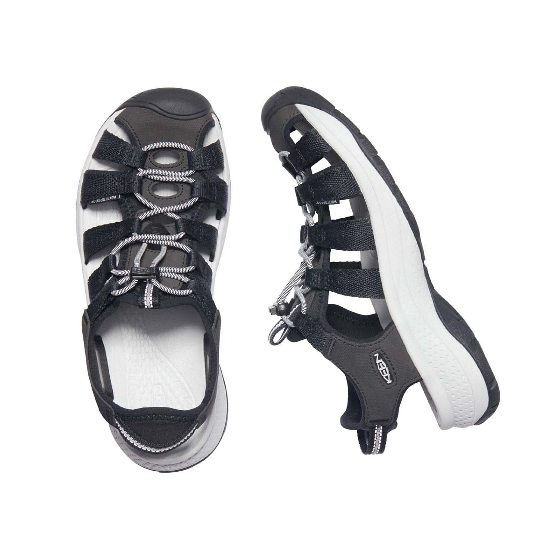 Den lätta, svart och vita sandalen Keen W Astoria West Sandal med bred läst sedd ovanifrån och från sidan