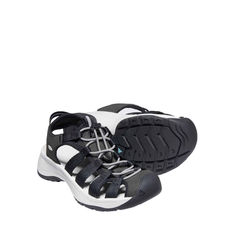Ett par av den lätta, svart och vita sandalen Keen W Astoria West Sandal med bred läst