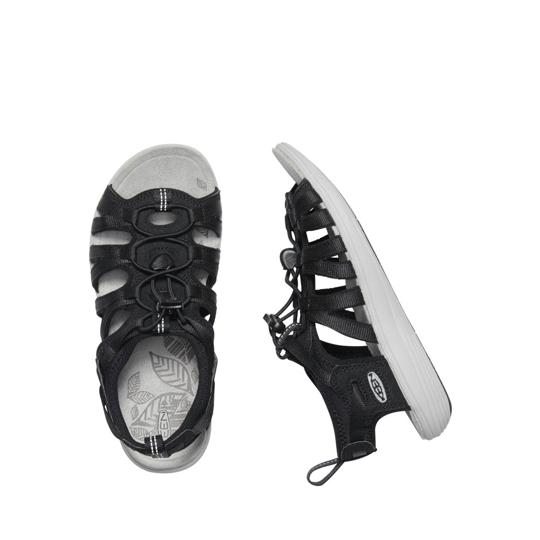 Två svarta sandaler från Keen sedd från sidan och ovanifrån