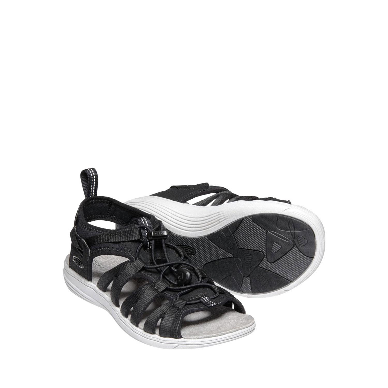 Två svarta sandaler från Keen sedd från sidan och uppifrån