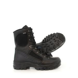 Ett par av den vattentäta, svarta polis- och militärkänga Meindl Kampfstiefel i läder och syntet