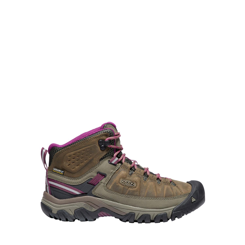 Sidovy på de bruna och rosalila låga vandringskängorna Keen W Targhee Mid. Kombinationsmaterial.