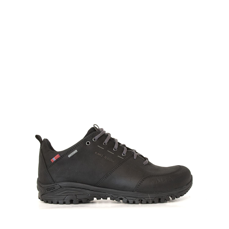 Sidovy av promenadskon Alfa Munro Gtx. Svart läder, vattentät.