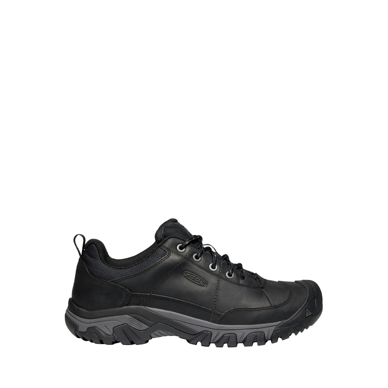 Den svarta, breda promenadskon Keen M Targhee III Oxford för herrar sedd från sidan. Läder och nylon.