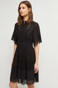 DRINA LACE EMBROIDERED DRESS BLACK French Connection