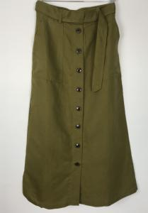YESTER LINEN BELTED SKIRT LIZARD GREEN FRENCH CONNECTION