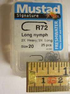 Mustad R72NPBR No 20 Long Nymph