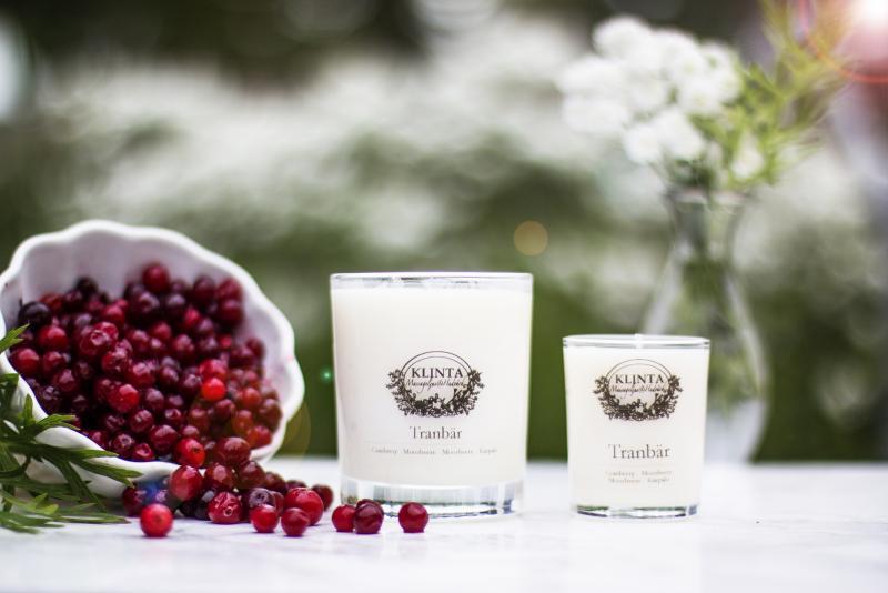 Massageljus med doft av tranbär