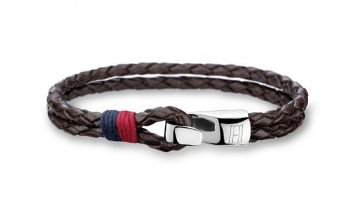 Tommy Hilfiger Double Row Brown Leather Bracelet 2700671