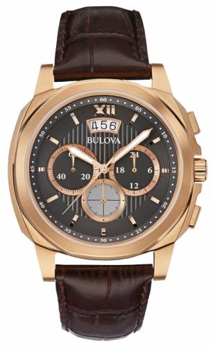 Bulova Mens Dress Chronograph Brown Leather 97B136
