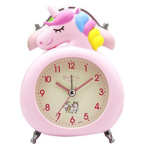 Pink unicorn alarm clock for kids and children