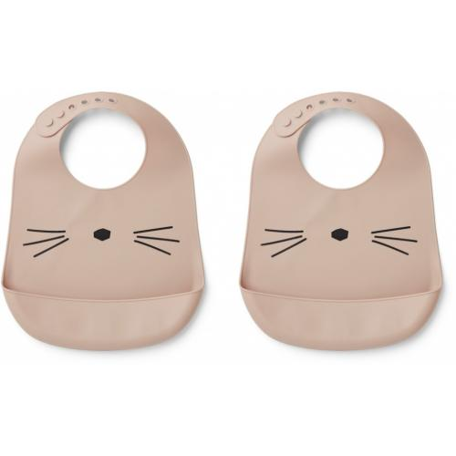 Tilda silicone bib 2-pack - Cat rose
