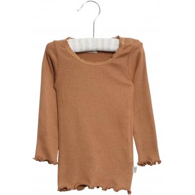 Rib T-Shirt Lace LS - Caramel
