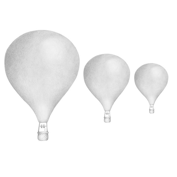 Stickstay - light grey balloons set 3