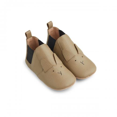 Edith Leather Slippers - Rabbit Oat