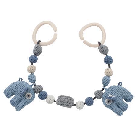 Barnvagnskedja, virkad blå elefant