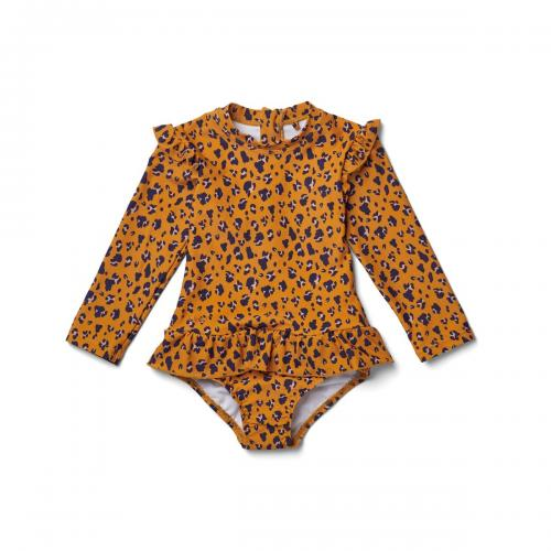 Sille swim jumpsuit - mini leo/mustard
