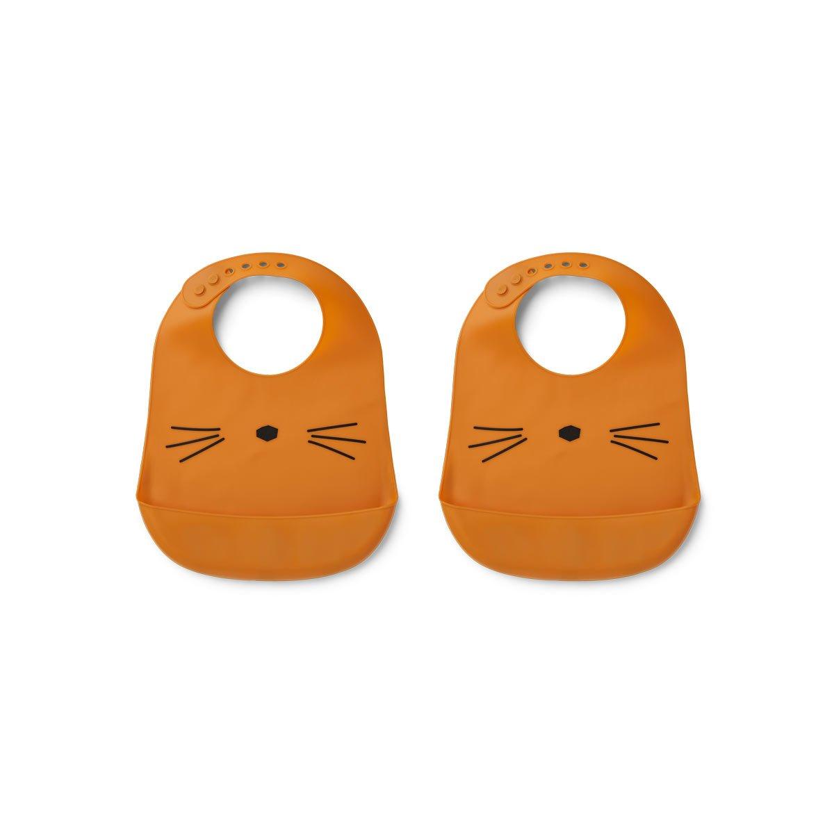 Tilda Silicone Bib 2 Pack - Cat mustard