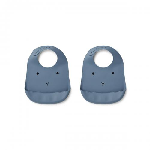 Tilda Silicone Bib 2 Pack - Rabbit blue wave