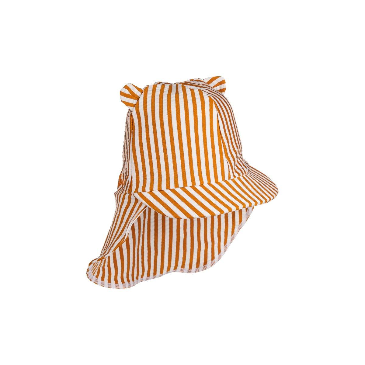 Senia sun hat seersucker - mustard / white