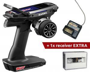 Sanwa M17 Radio, 2st. RX-491 Mottagare, Alu Tuning delar, Batteri