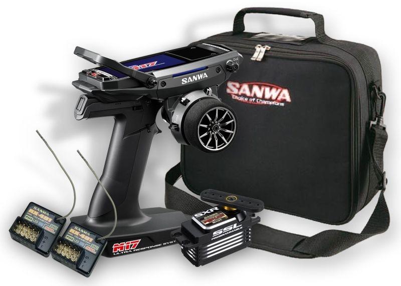Sanwa M17 Radio + 2st. RX-491 Mottagare, Servo PGS-LH, Väska