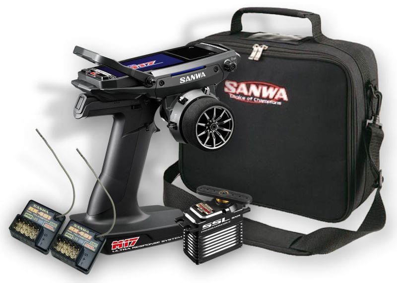 Sanwa M17 Radio + 2st. RX-491 Mottagare, Servo PGS-XBII, Väska
