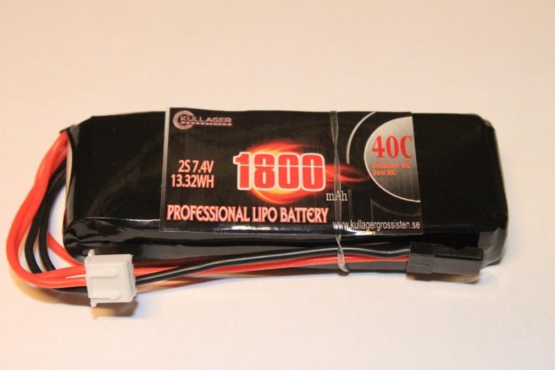 Mottagarbatteri Lipo Rakt 1800mAh 7.4V 40C