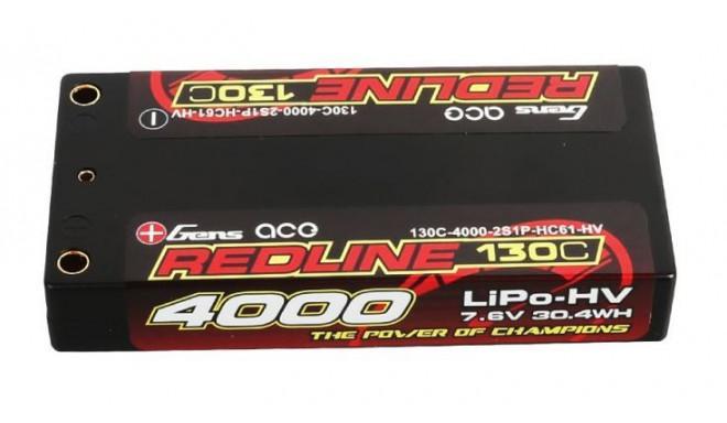 Gens ace Redline Series 4000mAh 7.6V 130C 2S1P HardCase HV Lipo EFRA
