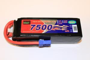 Lipo 4S 14.8V 7500mAh 80C EC5 Kontakt Softcase
