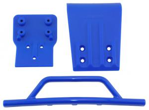 Bumper and Skidplate Front. Traxxas Slash 4x4. Blue. RPM.