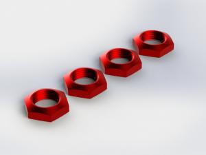 Hjulmuttrar 17mm Aluminium Röda