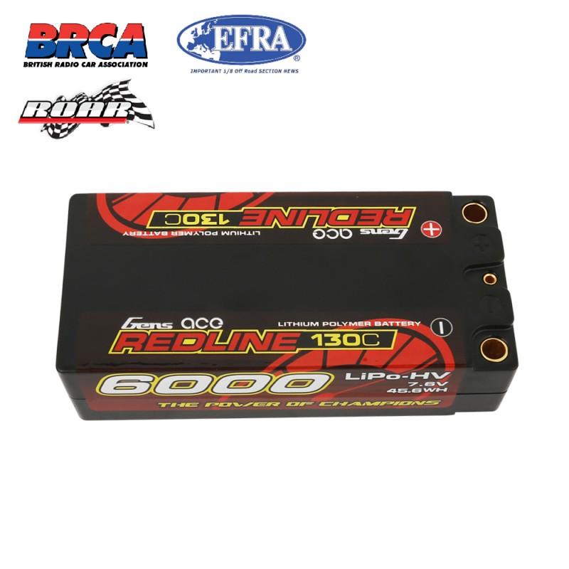 Gens ace Redline Series 2S 7.6V 6000mAh 130C HV HardCase Shorty Lipo Battery