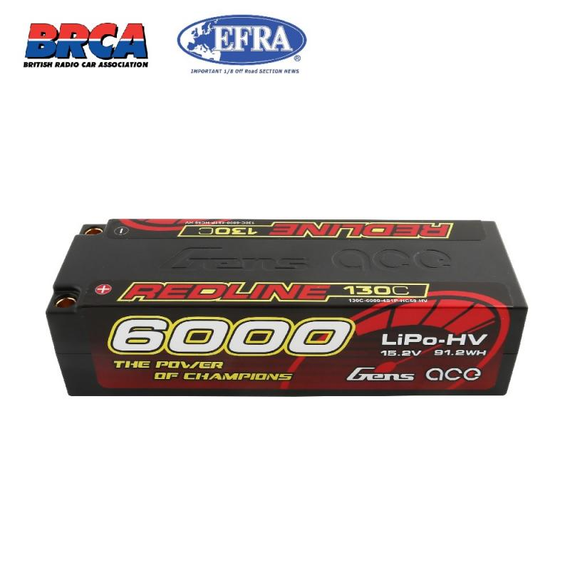 Gens Ace Red Line HV Lipo 4S 15.2V 6000mAh 130C Hardcase EFRA/ROAR