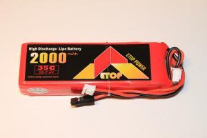 Mottagarbatteri Lipo Rakt 2000mAh 7.4V 35C ETOP Power