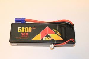 Lipo 2S 7.4V 5800mAh 70C EC5 Kontakt Hardcase