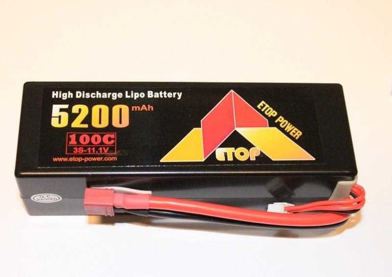Lipo 3S 11.1V 5200mAh 100C Hardcase ETOP Power