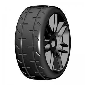 GRP Tyres 1:8 GT Däck/Fälg Färdiglimmat Svarta Fälgar