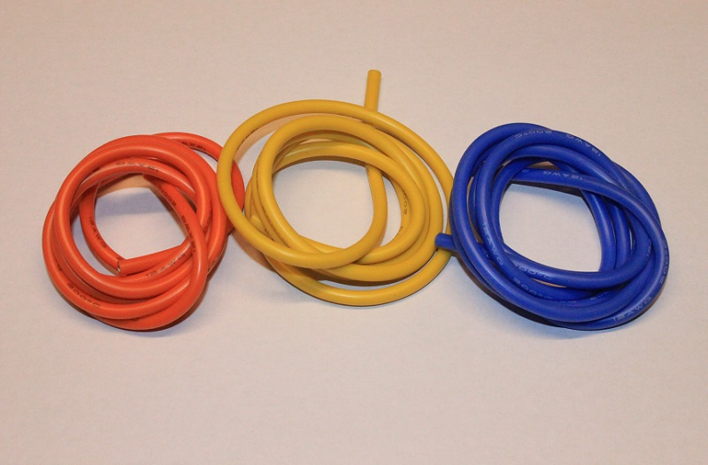 Silikonkabel Orange/Blå/Gul 3m 12AWG