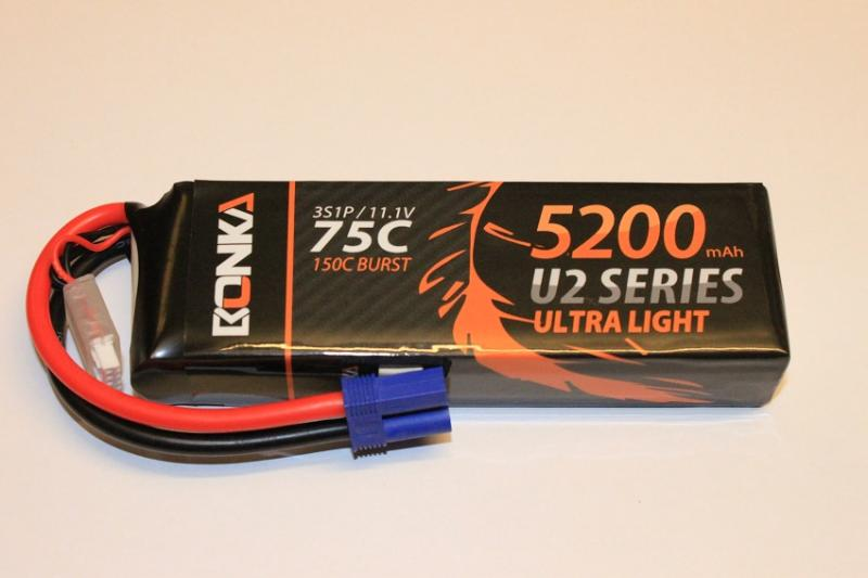 Lipo Batteri 3S 11.1V 5200mAh 75C Bonka Power EC5