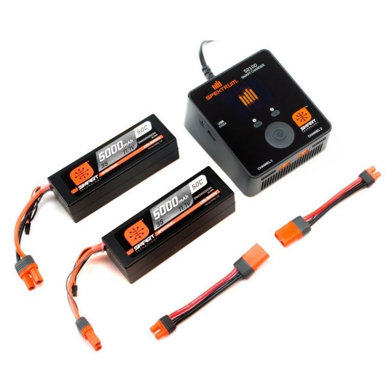 Spektrum Smart S2100 Laddare med två 11.1V 3S 5000mAH LiPo
